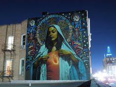 """Ave Maria"" El Mac, background and halo Retna Salt Lake City, Utah 2009 3d Street Art, Street Art Utopia, Amazing Street Art, Street Art Graffiti, Street Artists, Street Mural, Graffiti Artwork, Art Mural, Murals"