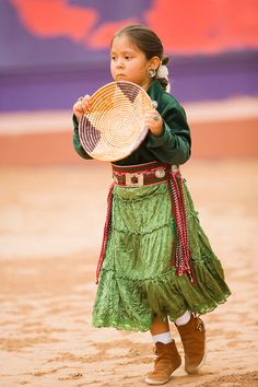 young Navajo Indian girl performs a Basket Dance, Gallup Inter-Tribal Indian Ceremonial, Gallup, New Mexico