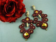 handmade earrings soutache bordeaux, Brown and gold-kind, OOAK-made in Italy