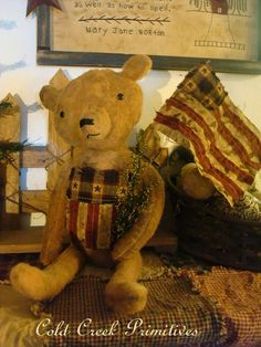 Primitive+Americana+Bear+with+Flag+by+ColdCreekPrimitives+on+Etsy,+$25.95 - 4th July