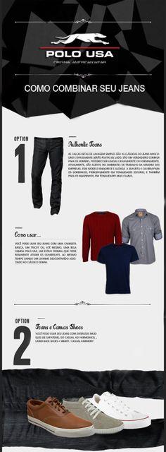 Como combinar seu jeans Jeans, Shopping, T Shirt, Moda Masculina, Green Jeans, Denim Pants, Denim, Denim Jeans