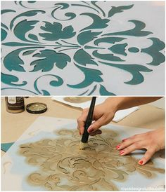 How to stencil with the Foliate Damask stencil from Royal Design Studio