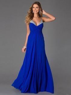 A-Line/Princess Spaghetti Straps Sleeveless Beading Floor-Length Jersey Dresses - Long Prom Dresses - Prom Dresses - Prom Diary