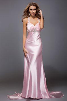 5899721880d280 Robe de soirée sexy ruchée strass paillettes à A-ligne en satin Pink Party  Dresses