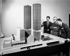Bertrand Goldberg with Marina City model, by Hedrich Blessing Photography Studio, c.1960