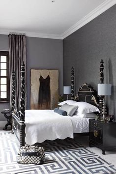 Cape Town Gray White Bedroom Greek Key Rug Furniture Interiors
