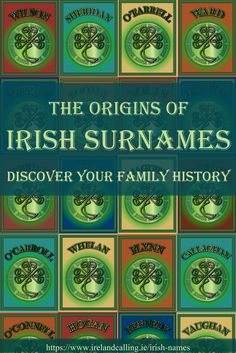 Some of the most popular surnames in Ireland have histories that go back hundreds, even thousands of years. Several originated from the ancient Irish clans that ruled various parts of the country over the centuries. Family Genealogy, Genealogy Sites, Genealogy Chart, Genealogy Forms, Irish Names, Irish Quotes, Irish Sayings, Lds Quotes, Irish Culture
