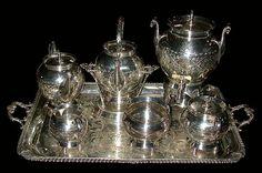 83.6148  Monumental 19th C. American Eastlake 7 Pc Silver Plate Tea...