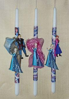 Πασχαλινές λαμπάδες Disney Frozen. Elsa & Kristoff- Elsa & Anna