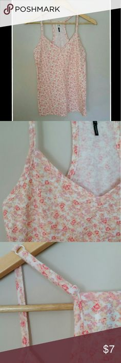 """Floral Tank Top Very soft and comfortable floral tank - racer back with adjustable straps - hues of pink,lavender, and peach on a white background - polyester/cotton/ rayon fabric combo - chest measures 15"""" before stretch - length is approx 25"""" depending how straps get adjusted - Size M C&S Tops Tank Tops"""