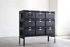 3 x 3 Reclaimed Locker Basket Unit Refinished in Matte Black on Matte Black