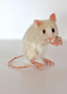 Needle Felted Wool AnimalsWhite Mouse needle felt by darialvovsky, $98.00