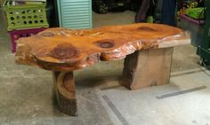 Wood slab coffee table work in progress