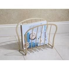 InterDesign York Lyra Newspaper and Magazine Rack for Bathroom, Office, Den Magazine Holders, Magazine Rack, Office Den, Bedroom Office, French Country Decorating, Bathroom Organization, Traditional Design, Newspaper, Small Bathroom