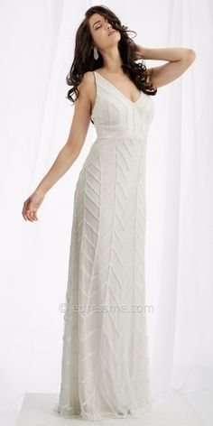 Tie Back Beaded Chevron Arrow Evening Dress from Lush by Jasz Couture #edressme