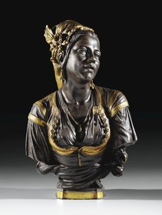 A FRENCH, CIRCA 1856, BRONZE AND GILT BRONZE BUST OF MOORISH WOMAN OF ALGIERS SINGING, BY CHARLES CORDIER