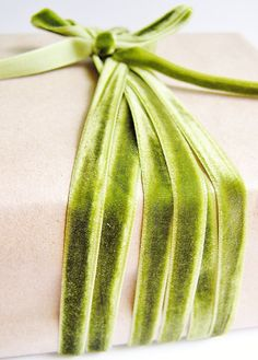 Olive Green Luxe Velvet Ribbon