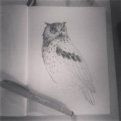 """Páči sa mi to: 72, komentáre: 5 – Natalia A.K.A cipana.natalia (@cipana.natalia) na Instagrame: """"Owl Wip in sketcbook #folowme #blackink #inkart #artistic_platform #artistic_unity…"""""""