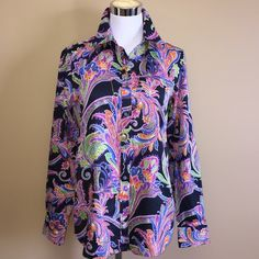 Colorful Paisley Ralph Lauren Button Down Perfect addition for your spring wardrobe. Laing sleeve button down. 100% cotton, no iron needed. Pristine condition. Lauren Ralph Lauren Tops Button Down Shirts