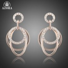 AZORA Polished Circle Rose Gold Plated with Stellux Austrian Rhinestones inlaid Drop Earrings TE0063(China (Mainland))