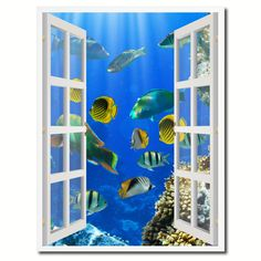 Tropical Fishes Picture 3D French Window Canvas Print Gifts Home Décor Wall Frames