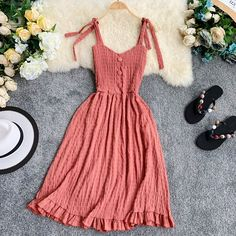 Available Korean Sweet Vintage Dress Women V-Neck Single-Breasted Wooden Ear Dress Holiday Summer Boho Dress 2019 Size One Size Color Apricot Cute Casual Outfits, Pretty Outfits, Pretty Dresses, Stylish Outfits, Beautiful Dresses, Casual Dresses, Boho Summer Dresses, Summer Dress Outfits, Summer Dresses For Women