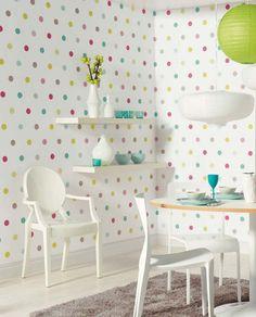 Self adhesive vinyl temporary removable wallpaper, wall decal - Rainbow polka dots - 018