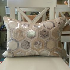 Parquet Design Silver Metallic cowhide Pillow available in Houston Texas (713)8802105 725 Yale St Visit us Today Furniture Shopping Needs