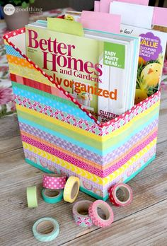 DIY Projects for Teenagers - DIY Washi Tape Cereal Box Organizers - Cool Teen Crafts Ideas for Bedroom Decor, Gifts, Clothes and Fun Room Organization. Summer and Awesome School Stuff Diy For Teens, Crafts For Teens, Fun Crafts, Wash Tape, Cereal Box Organizer, Diy Magazine Holder, Cardboard Box Crafts, Washi Tape Crafts, Cool Diy Projects
