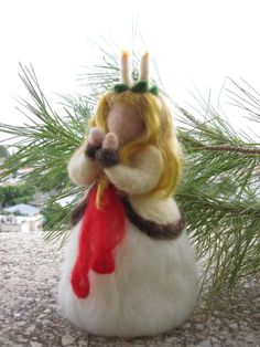 Needle felted Waldorf Santa Lucia standing by darialvovsky on Etsy, $42.00