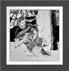 Try Line - Rugby Art On Canvas Print. Original rugby art by Roger Smith. Reproduced on Premium Canvas. One for the rugby follower's wall http://www.zazzle.com/try_line_rugby_art_on_canvas_poster-228115017608446129 #rugby #art #print #RogerSmith