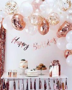 Birthday Garland, Gold Birthday Party, Birthday Backdrop, Pink Birthday, Girl First Birthday, Birthday Woman, Birthday Parties, 50th Birthday, Birthday Ideas