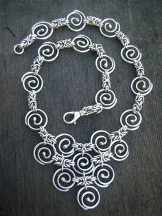 Byzantine Spiral (Pyramid) Handmade Silver Chain Necklace...maybe turn this into a bracelet