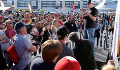 PHOTOS: Ryan Newman talks to the crowd during a hospitality appearance before the start of the Kobalt Tools 400 at Las Vegas Motor Speedway. View more photos from Vegas here: http://www.stewarthaasracing.com/fan/galleries/2013-KOBALT-Tools-400/#
