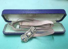 Mikimoto, K18WG, 帯留め、紐含めて17.9g, 大正13年から昭和初期頃