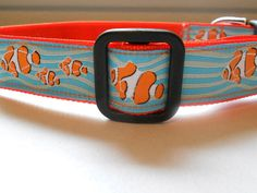 Unique & Cute Goldfish Dog Collar Woven Ribbon by FourPawsJewelry, $15.00