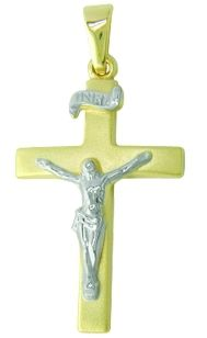 Plain yellow mat finished gold cross with 9ct white gold Christ (bright). INRI above. Bail bright polished