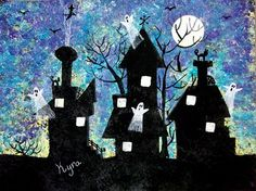 Haunted Houses...looks like printmaking with basic shapes