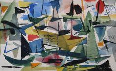 "Myrna Harrison (1932-), Sailboats on Provincetown Bay, 1952, watercolor, 9.75 x 15"""