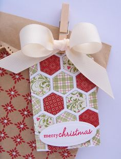 Great idea: hexagons on a tag and look at the stamping on the paper... have those, must try this.