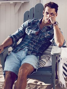 David Gandy posing for the radiant beach placed Lucky Brand lookbook session.