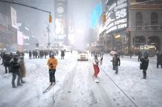 A Man Went Snowboarding Through Times Square During The Blizzard  #snowboarding #newyork #snow