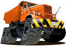 Vector Cartoon Dump Truck 6x6 #GraphicRiver Available AI-10 and EPS…