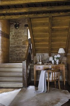 antique desk in cozy modern cabin retreat Modern Lodge, Converted Barn, Natural Homes, Virginia Homes, Entry Hallway, Antique Desk, Space Architecture, Rustic Interiors, My Dream Home