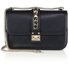 Valentino Rockstud Lock Medium Shoulder Bag ($2,345) ❤ liked on Polyvore