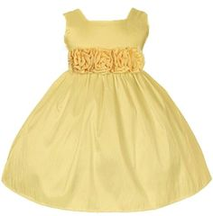 Sweet Kids Baby-Girls Sleeveless Flower Girl Dress with Rolled Flower Waistband Baby Girl Dresses, Baby Dress, Flower Girl Dresses, Baby Girls, Pale Yellow Dresses, Thing 1, Taffeta Dress, Chic Baby, Special Occasion Dresses