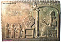 "Seal of Shamash - the Sumerian Sun god.  Note that the solar disk is held by two tassels. The base of the pillar of the throne is the ""lily"" seen in the thrones of the kings and Phrygian text XW. The Sun disk is emerging from the ""lily"" symbol. Note that it is similar to the Egyption akhet, meaning ""dawn."" The image represented the daily rebirth of the sun. It is curiously similar to the idols seen at Midas City. The Midas City idols appear to be abstract torsos, rectangles with disks atop"