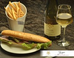 Parisian sandwich, french fries & a glass of white wine!