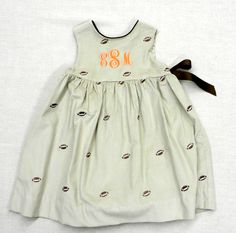Just Ducky Fall 2012 girls' custom Mary De Jumper in football cord with three letter monogram. Perfect for gameday!