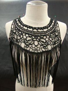 Neckline Applique Embellishment Necklace Crocheted Fringe Boho Chic